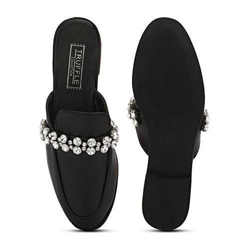 546699a91c4 Buy TRUFFLE COLLECTION Black PU Diamante Open Back Loafer Flats ...
