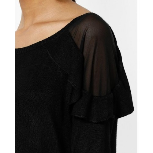 Only Shift Dress with Sheer Overlay