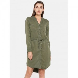 ONLY Women Olive Green Solid Shirt Dress