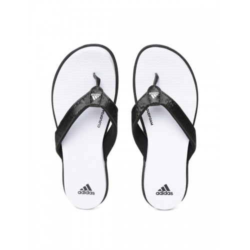 ab6cc85241e ... Adidas Women Black   White CLOUDFOAM Self Design Thong Flip-Flops ...