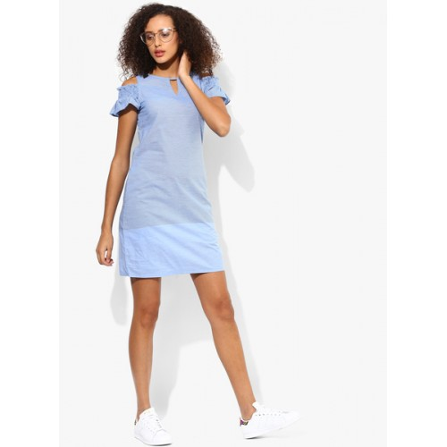 AND Blue Coloured Solid Shift Dress