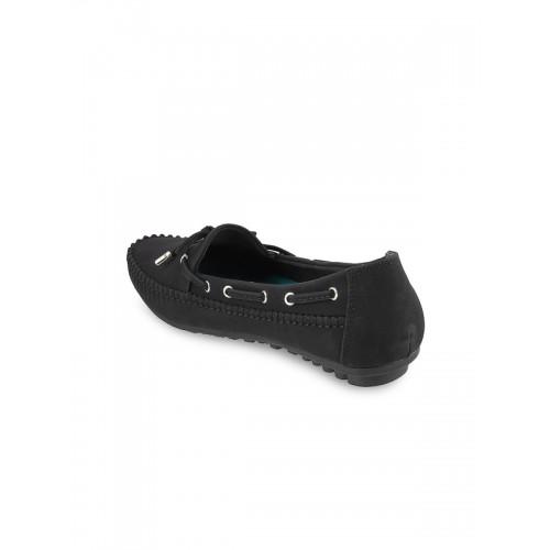 Metro Women Black Boat Shoes
