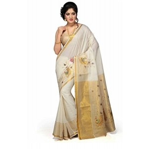 selvamani tex cotton kerala kasavu zari saree with blouse
