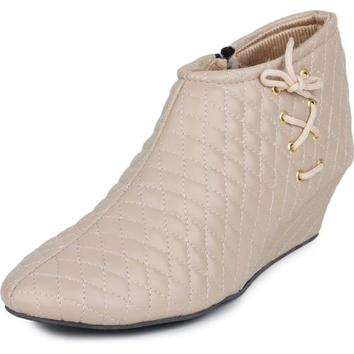 BEPS Beige Leather High Ankle Boots