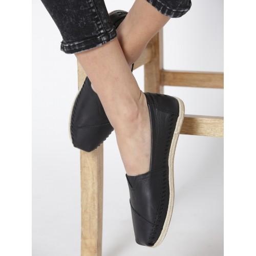 e1736121e86 Buy TOMS Women Black Leather Espadrilles online