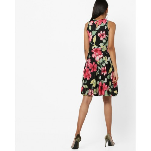 AND Black Coloured Printed Skater Dress