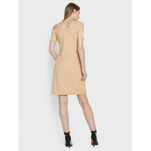 AND Women Beige Solid Sheath Dress