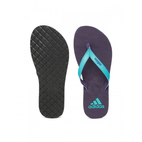 Adidas Women Blue & Purple PUKA Textured Thong Flip-Flops