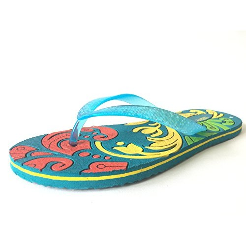 Zaare Women Flip-Flops and House Slipper Floral Turquoise