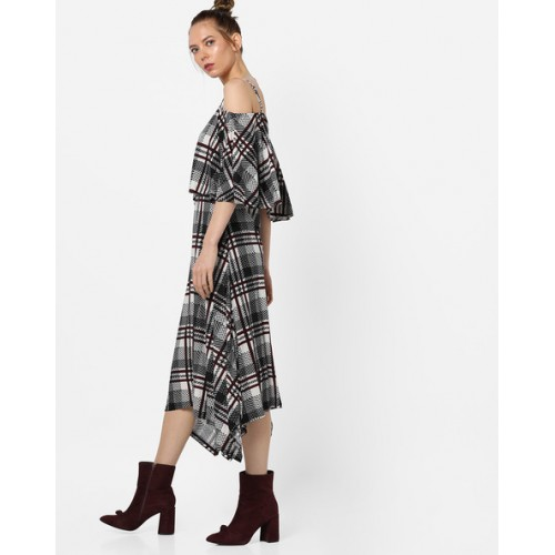 And Cold-Shoulder Checked Midi Dress with Dipped Hem