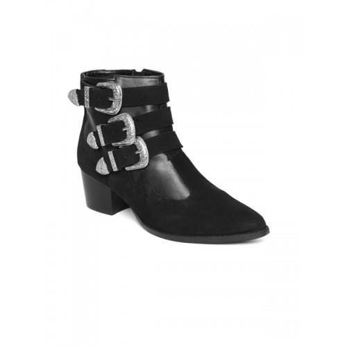 Carlton London Black Buckled Ankle Length Boots