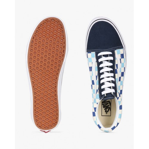 Vans Blue Leather Unisex Old Skool Sneakers