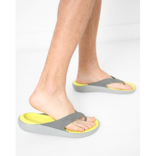 79ce4734f02524 Buy CROCS Grey   Yellow LiteRide Textured Flip-Flops online ...