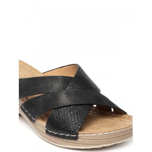 Addons Women Black Solid Sandals