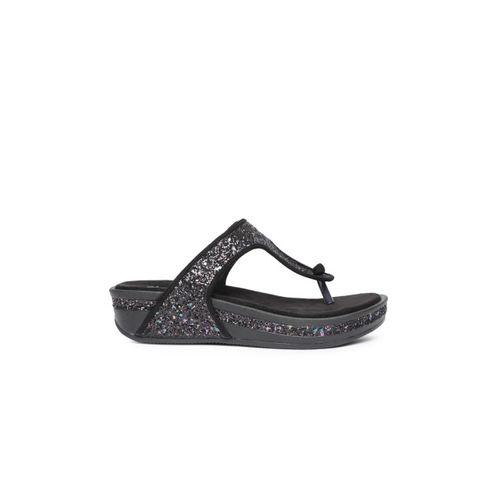 82e0d81fd3da Buy Ginger by Lifestyle Women Black Shimmery Comfort Heels online ...