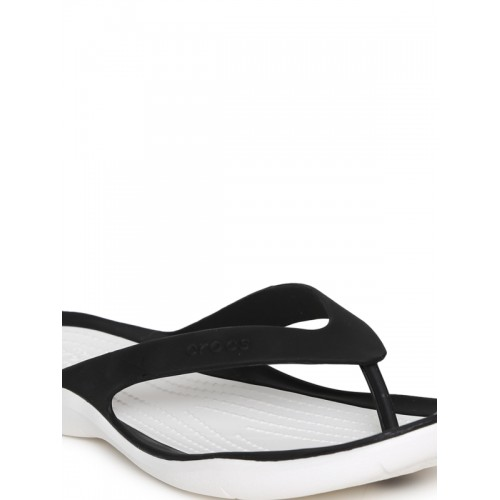 Crocs Women Black & White Thong Swiftwater Flip-Flops