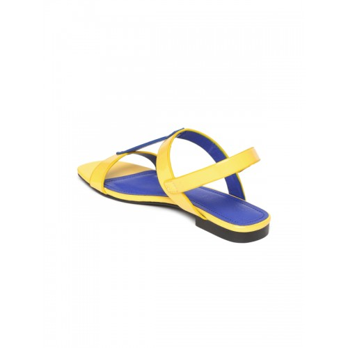 United Colors of Benetton Blue & Yellow Colourblocked Open Toe Flats