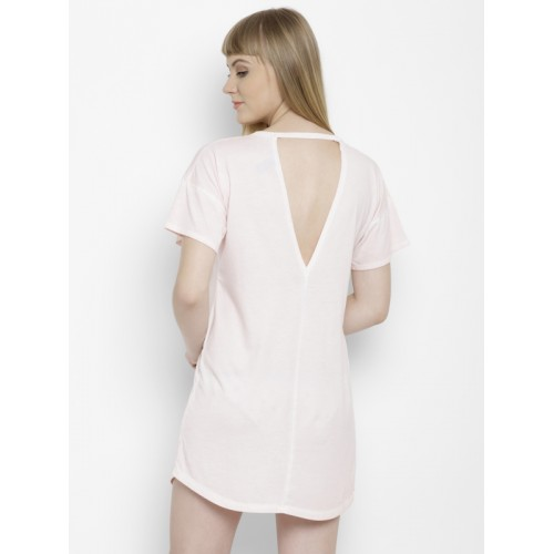 FOREVER 21 Women Pink Solid T-shirt Dress