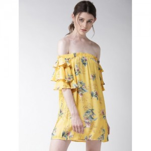 FOREVER 21 Women Yellow Printed Off-Shoulder A-Line Dress