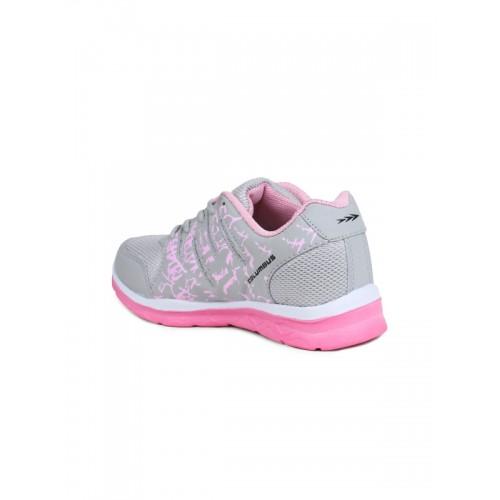 Columbus Grey & Pink Mesh Lace Up Walking Shoes