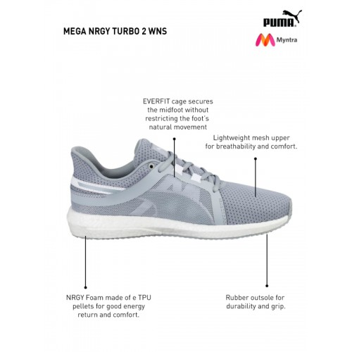 7ede7f003d1 Buy Puma Women Grey Mega NRGY Turbo 2 Running Shoes online