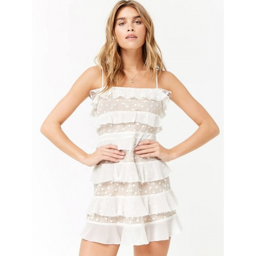 0bea5751fb2 Buy FOREVER 21 Women White Lace Ruffled A-Line Dress online ...