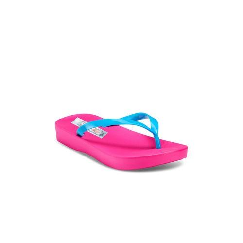 Zachho Women Pink & Blue Rubber Slip-on Flat Flip Flops