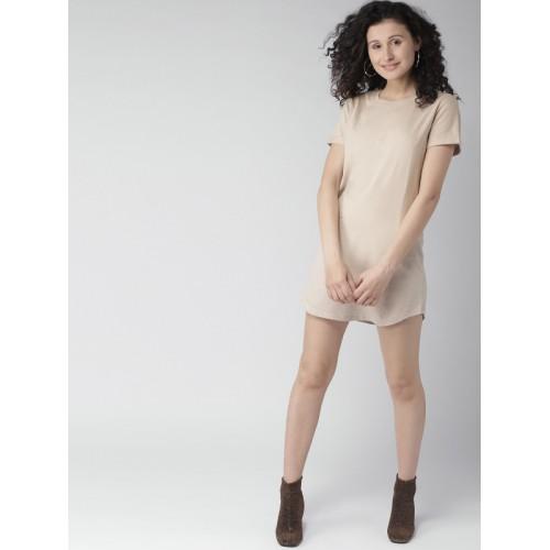 FOREVER 21 Women Beige Solid T-shirt Dress