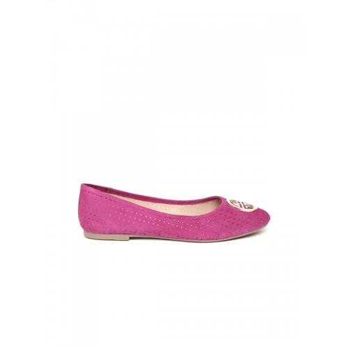 Carlton London Women Pink Perforated Real Leather Ballerinas