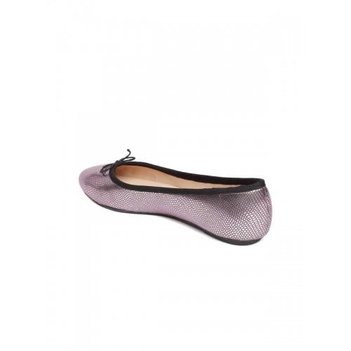 Carlton London Women Pink Snake-Skin Textured Ballerinas
