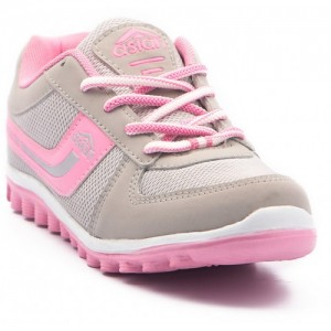 Asian Pink & Gray Synthteic Sports Shoes