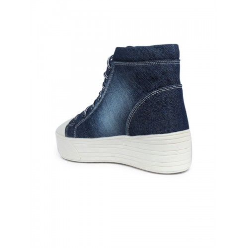 Shoetopia Women Navy Denim Platform Sneakers