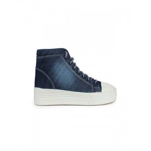Shoetopia Women Navy Denim Platform Sneakers