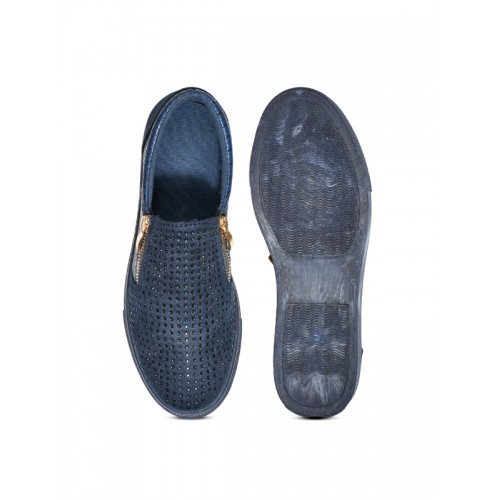 Truffle Collection Women Navy Embellished Slip-On Sneakers