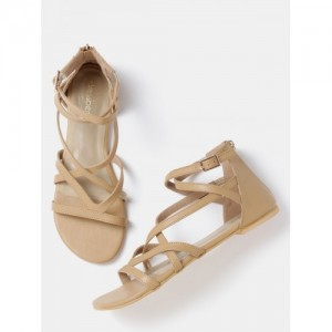 DressBerry Women Beige Strappy Flats Sandals