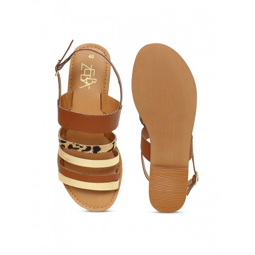 Zebba Women Brown & Gold-Toned Solid Synthetic Suede Open Toe Flats