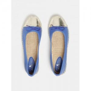 Mast & Harbour Women Blue & Gold-Toned Colourblocked Espadrille Ballerinas