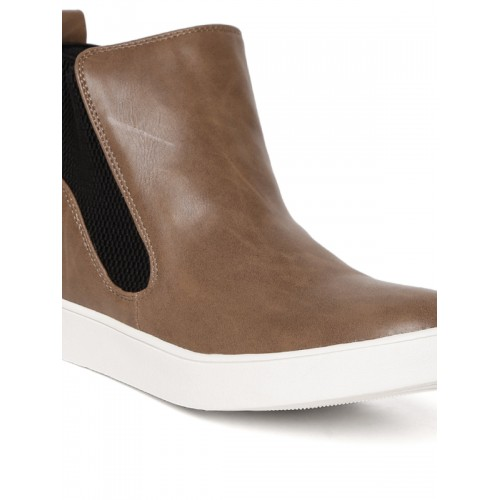 Carlton London Women Brown Solid Mid-Top Flat Boots