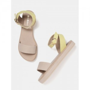 Mast & Harbour Women Beige & Yellow Colourblocked Open Toe Flats