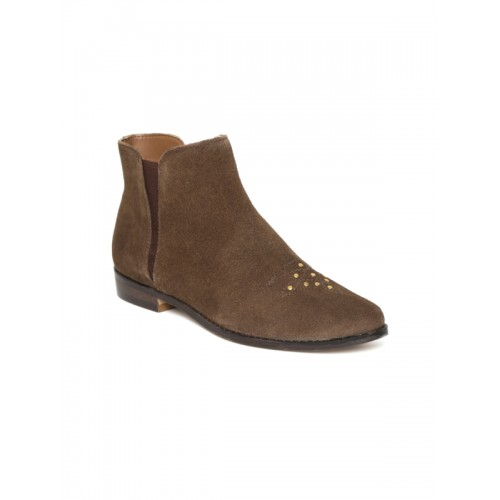 Carlton London Women Brown Suede Mid-Top Flat Boots