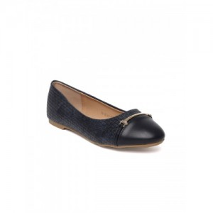 Addons Women Navy Blue Solid Synthetic Patent Ballerinas