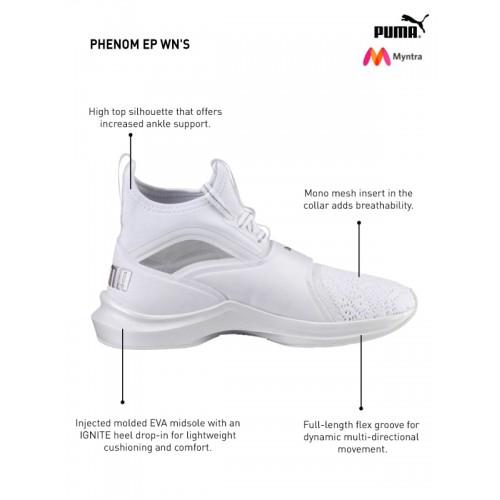 351bcbfa12b Buy Puma Women White   Silver-Toned Phenom EP Training Shoes online ...