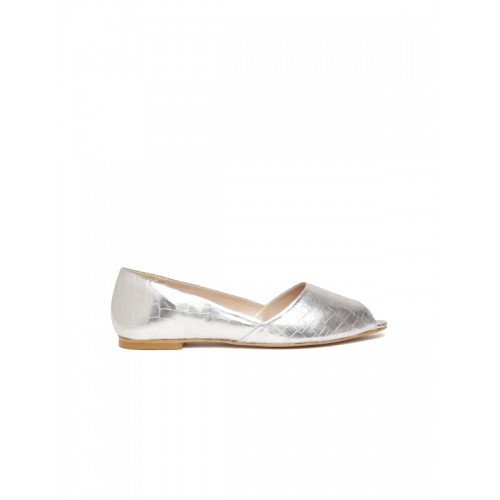 Carlton London Women Silver-Toned Textured Peep-Toes