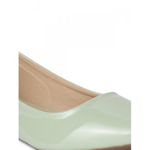 Shoetopia Women Green Solid Synthetic Ballerinas