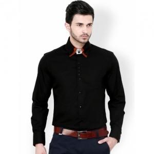 Dazzio Black Solid Slim Fit Semiformal Shirt