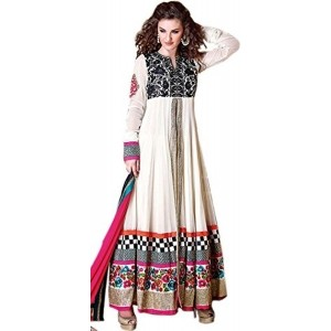 Exotic India Egret-White Front Slit Anarkali Suit With Ari Embroidery