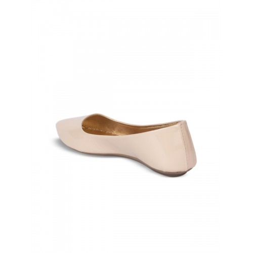 Shoetopia Women Cream-Coloured Solid Synthetic Ballerinas