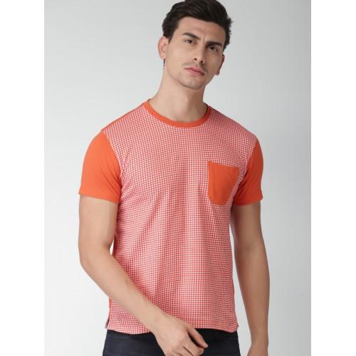 INVICTUS Men Orange & White Checked Round Neck Slim Fit T-shirt