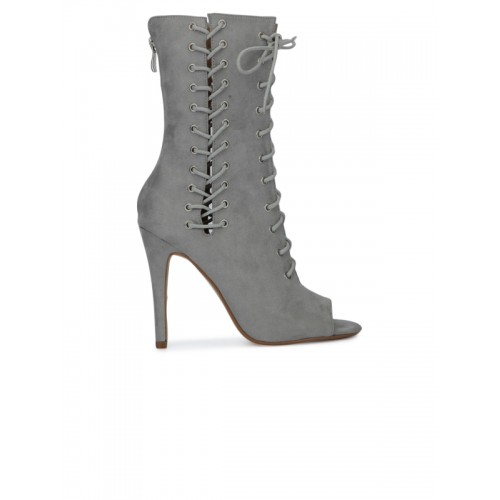 Truffle Collection Women Grey Solid Heeled Boots