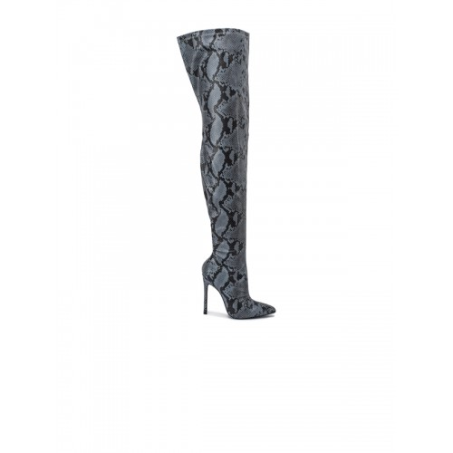 Truffle Collection Grey Printed Knee Length Boots